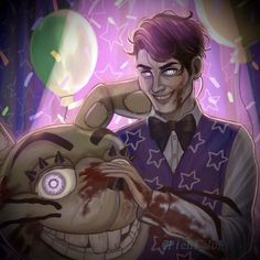 Fnaf Drawings, Cute Drawings, Creepy, Scary, William Afton, Five Nights At Freddy's, Horror, Funny Pictures, Neon