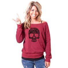 Black Floral Skull Bella Slouchy Wideneck Sweater by rainbowswirlz - StyleSays