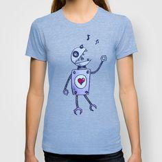 Happy Cartoon Singing #Robot T-shirt $22.00 #clothing #shirt #geek