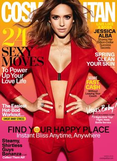 Jessica Alba looks red-hot on the March 2016 cover of Cosmopolitan Magazine, wearing a red jacket, pants and bra top. Photographed by Tesh… Ashton Kutcher, Jessica Alba Dress, Divas, Move In Cleaning, Baby Workout, Cosmopolitan Magazine, Instyle Magazine, Red Bra, Thing 1