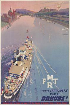 Venez a Budapest Par Le Danube, 1933  #vintage #travel #poster