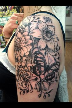 My flower tattoo..clematis, mums, Queen Anne's Lace, butterfly, bumblebee