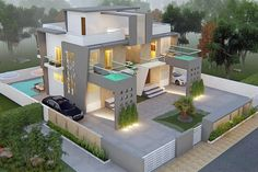 Panash Design Studio - Take a look of our best design list of Commercial Elevation Projects. Modern Small House Design, Bungalow House Design, House Front Design, Bungalow Interiors, House Elevation, Front Elevation Designs, Building Elevation, Double House, House Architecture Styles
