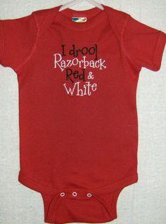 Razorback Baby Drool 6 mos. $14.95, via Etsy.