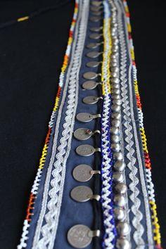 cinturon azul etnico india gypsy monedas bordado por azulcasinegro