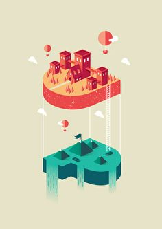 "visualgraphc: ""UP: Fly and Float Nico Lopez "" Flat Illustration, Graphic Design Illustration, Digital Illustration, Isometric Art, Isometric Design, Typography Inspiration, Graphic Design Inspiration, Game Design, Design Art"