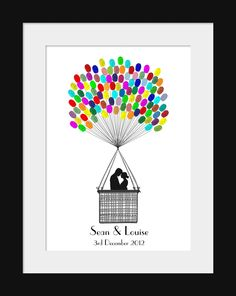 Fingerprint Hot Air Balloon Wedding Guest Book Kit Available in 2 sizes. $50.00, via Etsy.