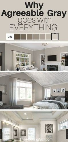 Agreeable Gray is the perfect greige paint and goes with everything. Find out why. bedroom paint colors Agreeable Gray, the Ultimate Neutral Greige Paint Color Neutral Gray Paint, Blue Gray Paint Colors, Greige Paint Colors, Bedroom Paint Colors, Paint Colors For Home, Neutral Wall Colors, Paint Colors For Kitchens, Blue Gray Walls, Colors For Bedrooms