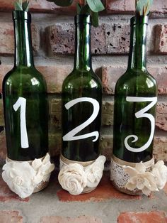 Wine Bottle Table Numbers- Sola flower Centerpieces, Vintage Wedding, Rustic Table Numbers, Country Outdoor Wedding, vintage table numbers