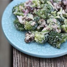 Healthy broccoli raisin salad without the mayo, sugar and bacon.