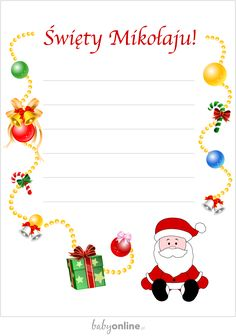 List do Świętego Mikołaja – do druku list do Świętego Mikołaja | Babyonline Christmas Diy, Xmas, Christmas Ornaments, Diy And Crafts, Crafts For Kids, Polish Language, Mandala, Holidays And Events, Kids And Parenting