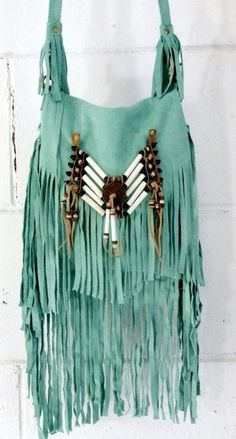 ..a bohemian turquoise suede leather fringe bag ..☮