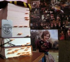 Each sticky note marks the page where a character died.    Deathly Hallows, though.