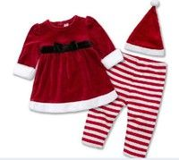 Wish | 3pcs baby girl dress clothes kid Christmas Santa Xmas Red top coat set outfits