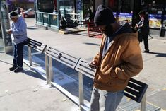 Cities are removing benches in an effort to counter vagrancy and crime—at the same time that they're adding them to make the public realm more age-friendly. Bus Shelters, Public Realm, Urban Furniture, Bus Stop, Built Environment, Interactive Design, Raincoat, Architecture, City