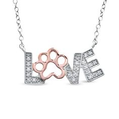 """ASPCA® Tender Voices™ Diamond Accent """"LOVE"""" Paw Necklace in Sterling Silver and 10K Rose Gold - Zales"""