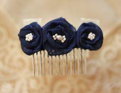 Blue Flower Comb - Something Blue - Bridesmaids Gift - Dark Blue Bridal Headpiece