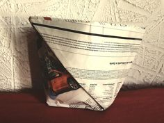 Fold plastic-free garbage bags from newspaper - Alba's Soap Works Crate Nightstand, Crate Desk, Crate Table, Crate Furniture, Crate Bookcase, Crate Shelves, Crate Storage, Wooden Dog Crate, Diy Dog Crate
