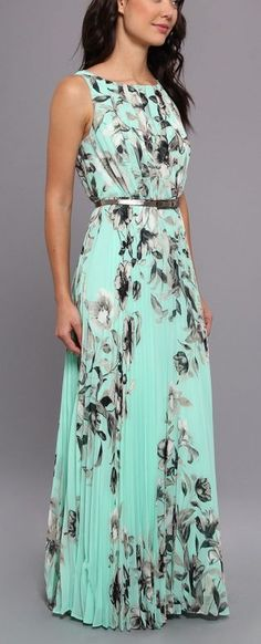 Mint + black and white maxi dress, swooshy and pleated, with a real waist