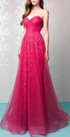 Rose Red Lace Applique Satin Prom Dress