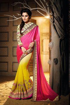 Pink Georgette Designer Saree