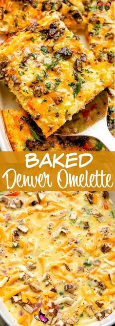 Baked Denver Omelette Recipe - Easy Make Ahead Brunch Idea! This Baked Denver Omelette recipe is packed with onions, peppers, ham, and cheese. It's easy, delicious and sure to be your new go-to brunch recipe! #omelette #brunch #makeahead<br> This Baked Denver Omelette recipe is packed with onions, peppers, ham, and cheese and so easy to make. It's fluffy and delicious and sure to be your new go-to brunch recipe. Ham And Cheese Omelette, Baked Omelette, Healthy Omelette, Breakfast Omelette, Breakfast Recipes, Breakfast Ideas, Omelette Muffins, Make Ahead Brunch Recipes, Dinner Recipes