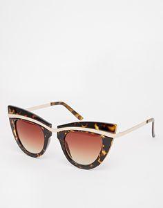 ASOS Cat Eye Sunglasses With Metal Top And Built Up Highbrow