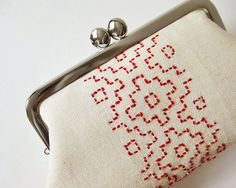 Linen kiss lock purse embroidered purse red sashiko on por oktak