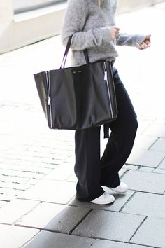 Mija is wearing a a grey mohair jumper from Acne Studios, black wide leg trousers from Zara, bag from Celine and Stan Smith sneakers from Ad. Street Style, July 2014 - Just The Design Fashion Mode, Minimal Fashion, Look Fashion, Winter Fashion, Fashion Outfits, Fashion Trends, Classic Fashion, Fashion Tips, Fashion Videos