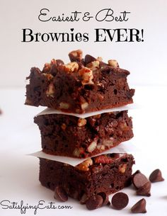 Easiest & Best Brownies EVER!! Seriously the easiest and best brownies you will ever make! www.satisfyingeats.com