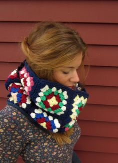 Granny Square Blue and Colorful Upcycled Crochet Blanket Neckwarmer Cowl Circle Scarf Gifts For Her. $30.00, via Etsy.