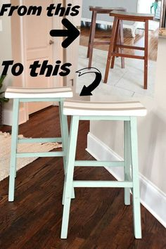 Painted with personality, saddle seat bar stools.