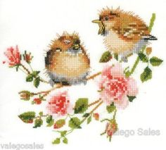 Heritage Valerie Pfeiffer Counted #crossstitch #Rose Chick-Chat #chart #DIY  #spring #birds