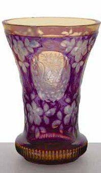 A Bohemian amethyst double cased beaker