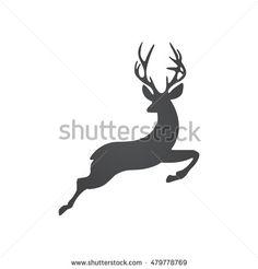 Vector Grey Jumping Deer Logo