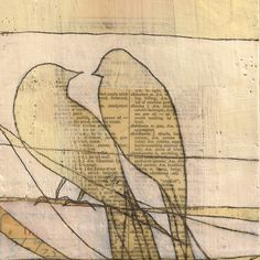 Birds on Power Lines, 2012, Janet Nechama Miller, encaustic with old papers and ink lines, 8 x 6 in., Seattle.