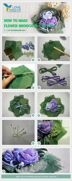 How to make flower brooch out of lace