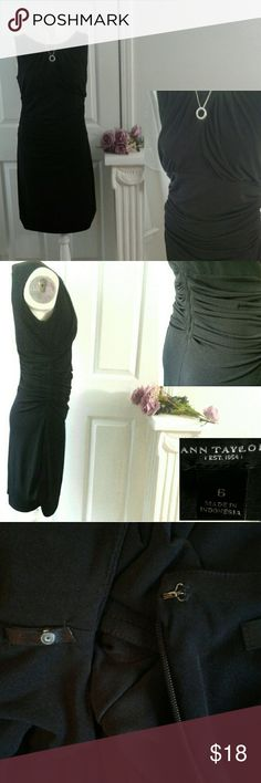 "Ann Taylor LBD sleeveless empire sz 6 Excellent condition.  Little black dress w/back zipper, round neck and draping detail at bodice and waist. 16"" across underarms, 24"" across wsist and 36"" long. Both shell & ling are poly/spandex blend. Smoke/pet free home.  15% off bundle. Ann Taylor Dresses Midi"