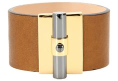 Reed Krakoff saddle brown T Bar oval leather cuff