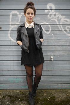 Topshop Leather Jacket, New Look Lace Dress, Pop Couture Shirt, Internacionale Boots