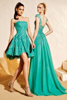 The Short and Long of it Turquoise Dress and Turquoise Evening Gown - Zuhair Murad Resort 2015 - Collection - Gallery - Style.com