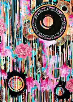 EVERYTHING MUST FLOW - colorful dripping detailed mixed media painting acrylic painting original art orange pink black white