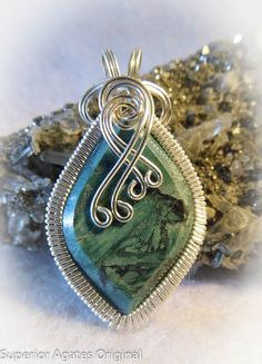 Chrysocolla Designer Wire Wrapped Pendant by superioragates, $35.00