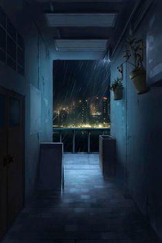 anime night pixiv illustration scenery backgrounds cool episode corridor landscape uploaded user