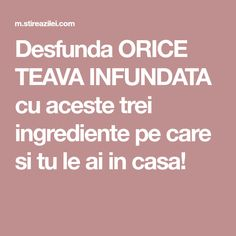 Desfunda ORICE TEAVA INFUNDATA cu aceste trei ingrediente pe care si tu le ai in casa! Cleaning Solutions, Cleaning Hacks, Kitchen Hacks, Alter, Home Deco, Good To Know, Diy And Crafts, Household, Remedies