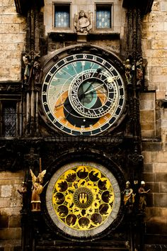 Prague - the astronomical clock. When it strikes the hour, the apostles come out the doors at the top.