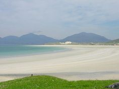 Luskentyre beach with the mountains of North Harris in the background  http://www.undiscoveredscotland.com/harris