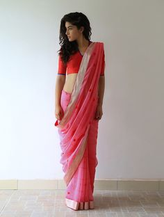Rose Pink Red Silver Orange Gharchola Chanderi & Zari Saree By Raw Mango. Available Online At Jaypore.com.