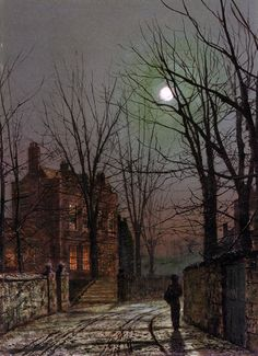 Moonlight (1882) by John Atkinson Grimshaw (b. 6 September 1836; Leeds, England – d. 13 October 1893; Leeds, England) Oil on panel, 32 × 23 cm. Private Collection. https://en.wikipedia.org/wiki/John_Atkinson_Grimshaw