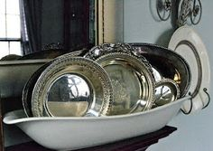 white dish with old silver trays